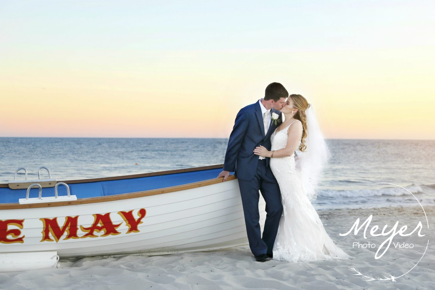 bride groom beach cape may nj kiss